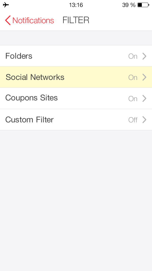 How do I disable email notifications from social networks?
